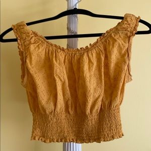 Yellow eyelet off the shoulder crop top